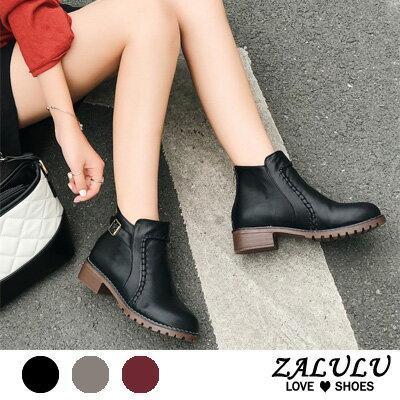 車縫線造型低跟短靴(3色)
