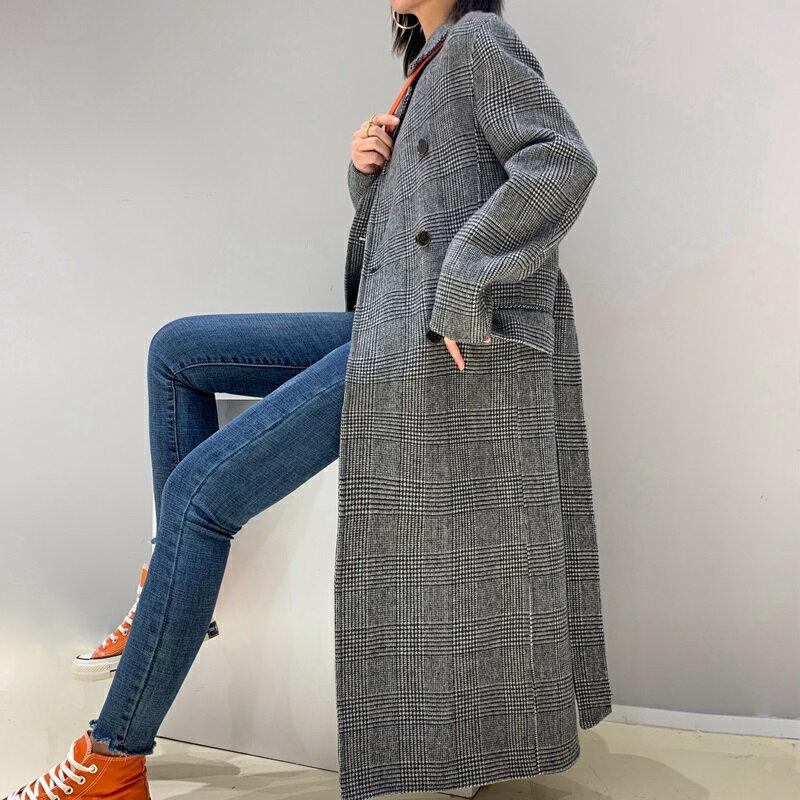 毛呢大衣羊毛外套-雙排扣格紋繫帶長版女外套73wb25【獨家進口】【米蘭精品】 1