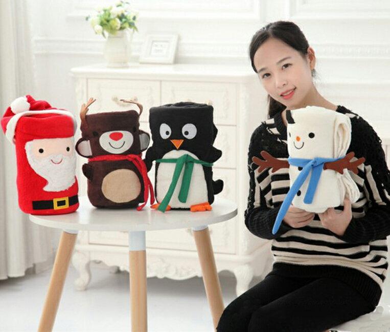 糖衣子輕鬆購【DS179】聖誕老公公/麋鹿/雪人可愛造型暖暖蓋毯捲毯護膝毯兒童午睡毯冷氣空調被