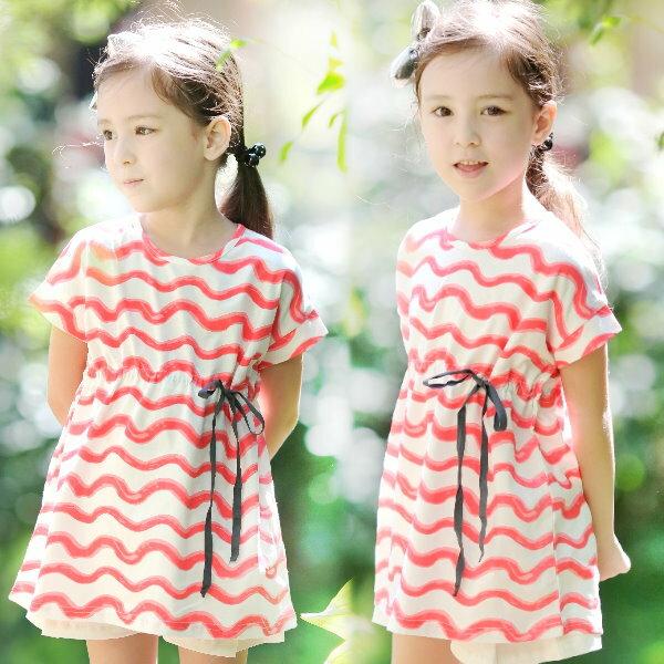 【班比納精品童裝】彈力水波紋抽綁繩長版洋裝-白【BD160318008】