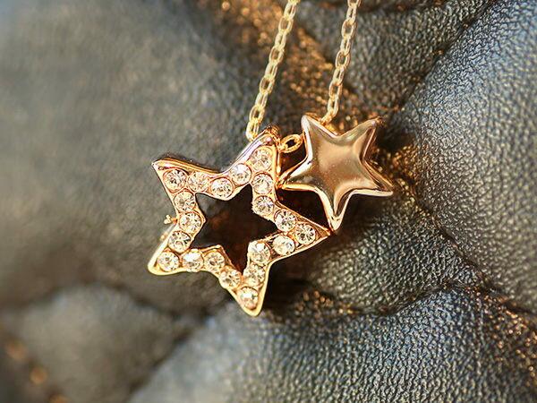 【櫻桃飾品】五角星鑲鑽造型項鍊18K超商取貨貨到付款批發【20644】