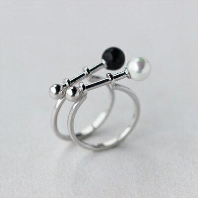 925純銀戒指珍珠開口戒~獨特 喇叭型生日情人節 女飾品2款73dt175~ ~~米蘭 ~