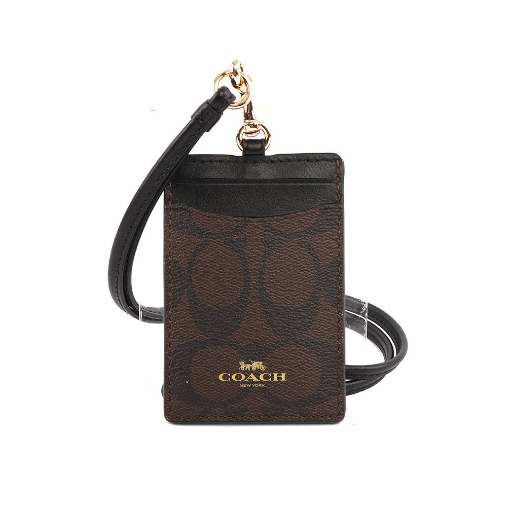 【COACH】PVC LOGO掛式証件套/卡夾(巧克力色)F63274 IMAA8