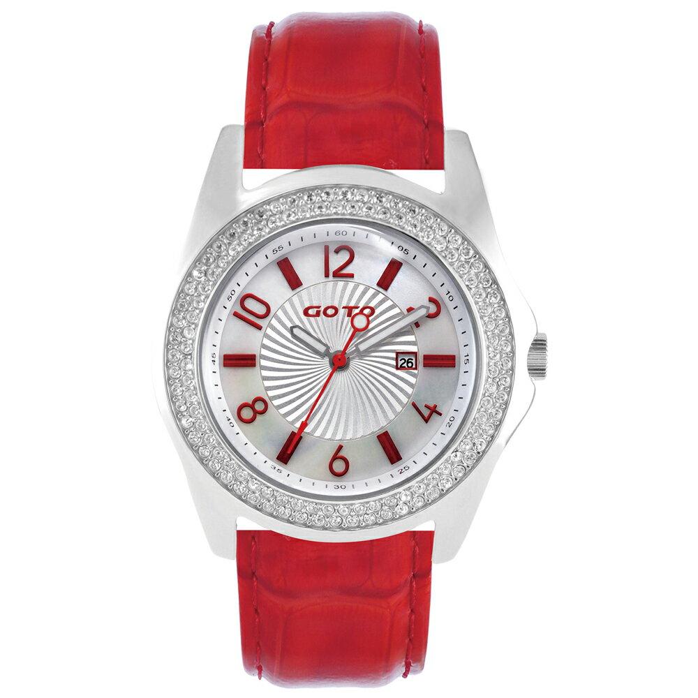 【易奇網】GOTO 星鑽復古時尚婉錶-不鏽鋼錶殼x義大利竹節紋紅色皮革錶帶x經典復古白色面板/38mm