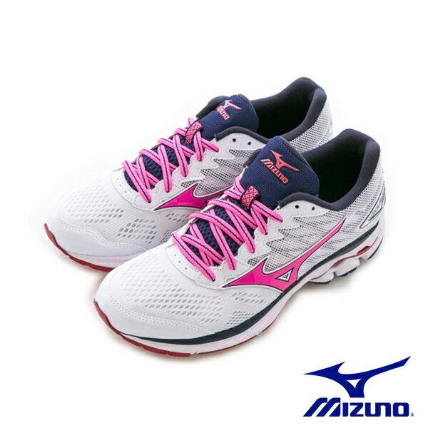【MIZUNO促銷7折│全店免運】MIZUNO(女)WAVERIDER20暢銷款女慢跑鞋白桃-J1GD170366