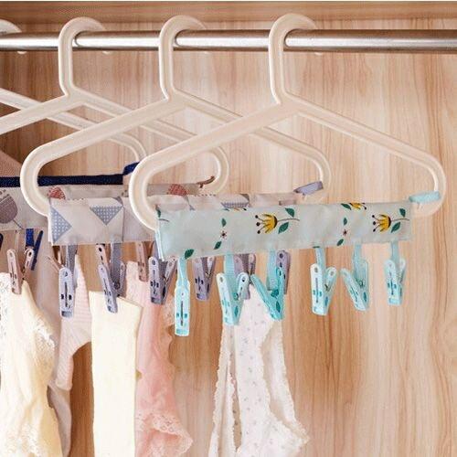 ✤宜家299超取免運✤創意便攜布藝衣架 出差旅行可折疊衣架 浴室晾衣服夾子 魔術曬衣架