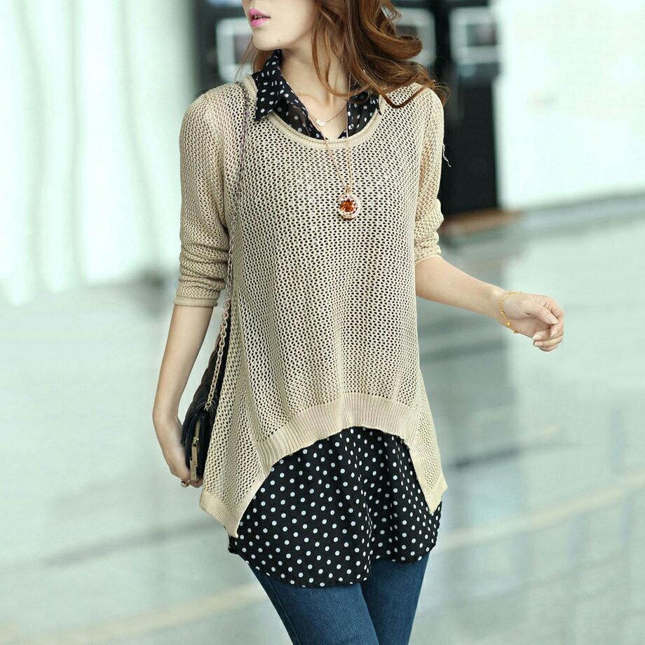 現貨 兩件組!韓版雪紡襯衫+鏤空長袖針織衫 - ORead 自由風格 3