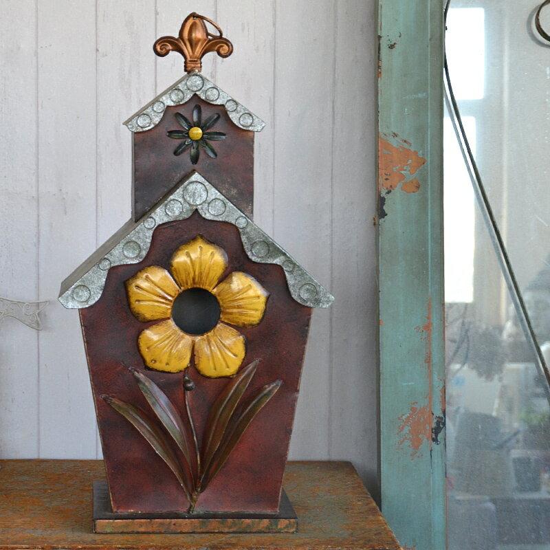 鳥窩鳥屋鐵藝鳥籠 陽臺花園藝戶外裝飾品 美式鄉村復古做舊鳥房子1入