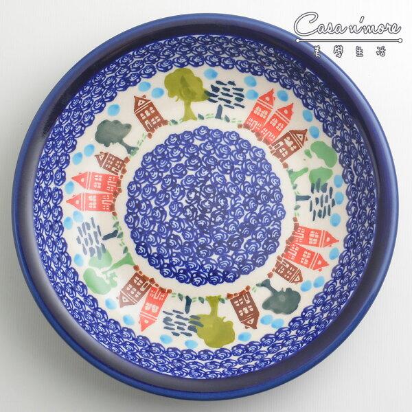 波蘭陶浪漫美屋系列圓形深餐盤陶瓷盤菜盤水果盤圓盤深盤22cm波蘭手工製