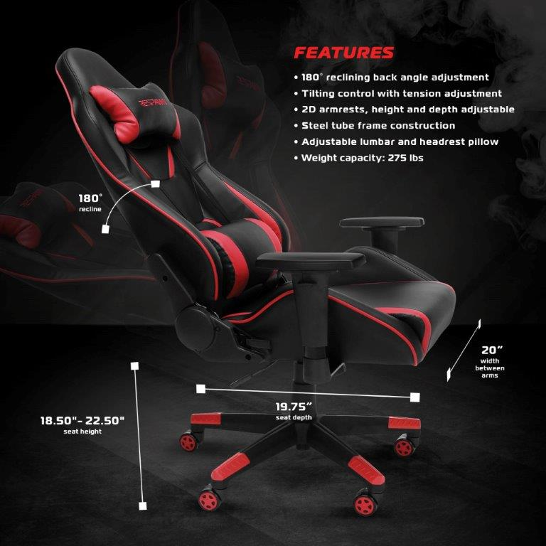 RESPAWN Racing Style Gaming Chair - Reclining Ergonomic Leather Chair, Office or Gaming Chair (RSP-120) 1
