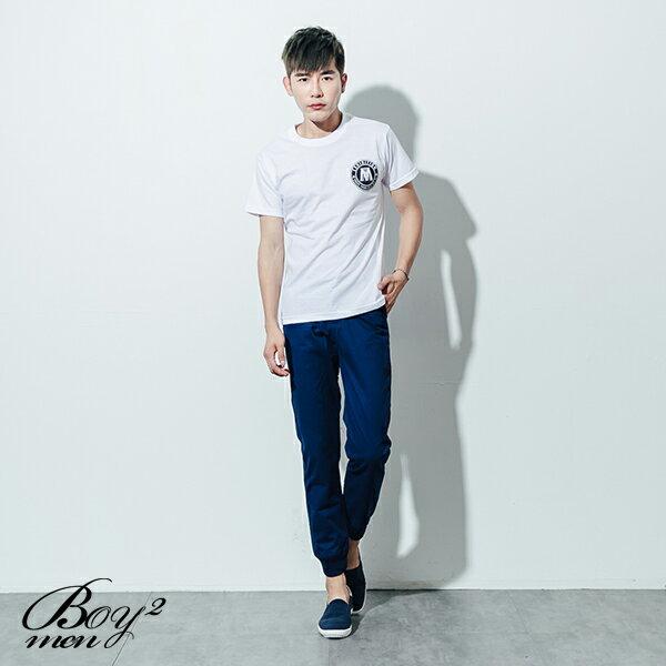 ☆BOY-2☆【ND5467】短袖T恤素面簡約質感休閒大M圓標印花短T 2