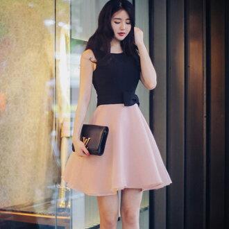 PS Mall甜美拼接蝴蝶結雪紡無袖連身裙 連身洋裝【T569】