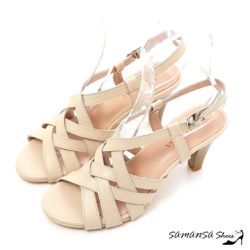 SAMANSA  MIT真皮 美腿線條~~真皮交叉編織高跟涼鞋 ~#15121 粉膚色