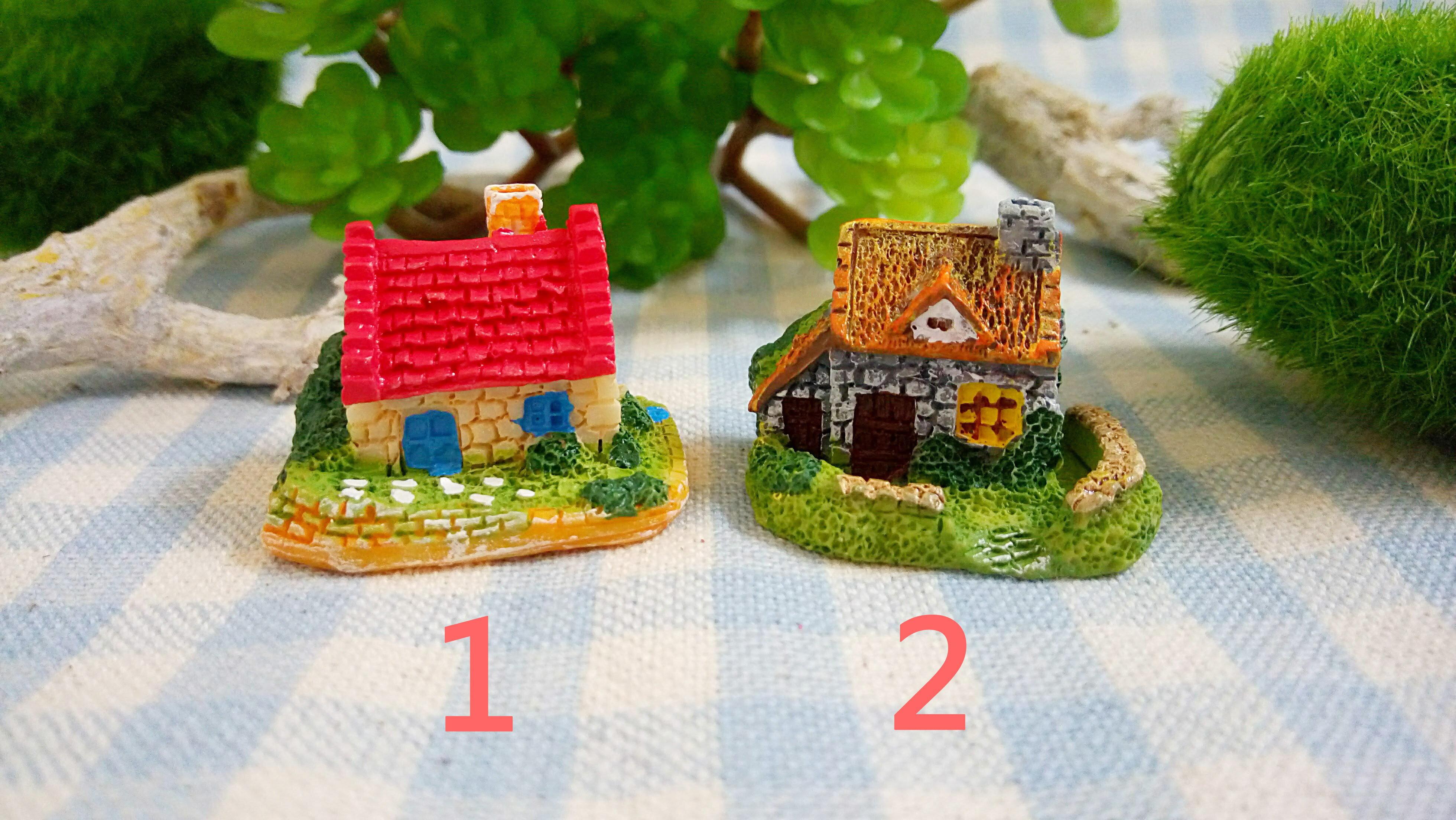 可愛鄉村風英式別墅 小款 高約2.2cm 共2款 特價一個40元 仙人掌裝飾 多肉 擺飾 小房子