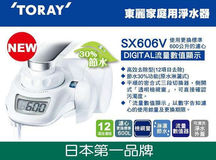 淨水器SX606V (TORAY東麗生飲淨水器-超薄型) (附高去除型濾心STC.VJ-具有LCD顯示)(2016年上市)