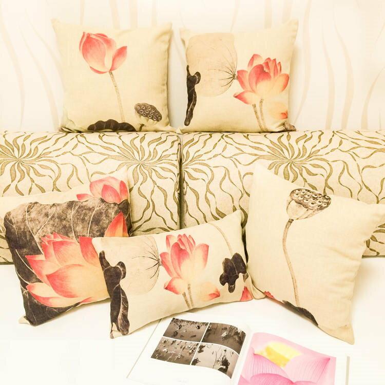 45*45中國風現代復古新中式紅木沙發水墨畫荷花棉麻 靠枕抱枕套 沙發靠墊 家居酒吧 /單面圖案