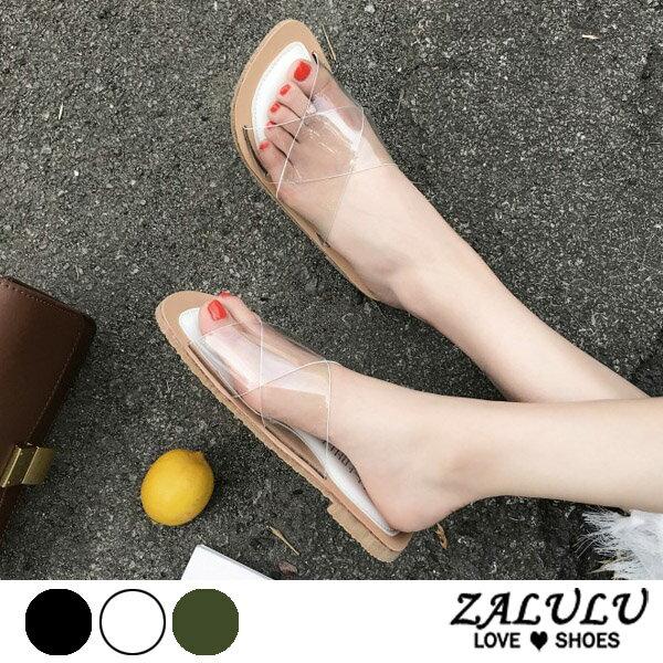 ZALULU愛鞋館7EE120預購顯瘦名媛款平底透膚拖鞋-白綠黑-35-39