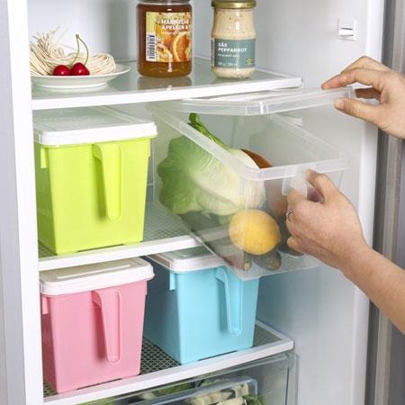 手柄廚房冰箱收納盒(隨機出貨)附蓋收納盒整理冰箱蔬果雜貨居家防塵可堆疊【B063200】