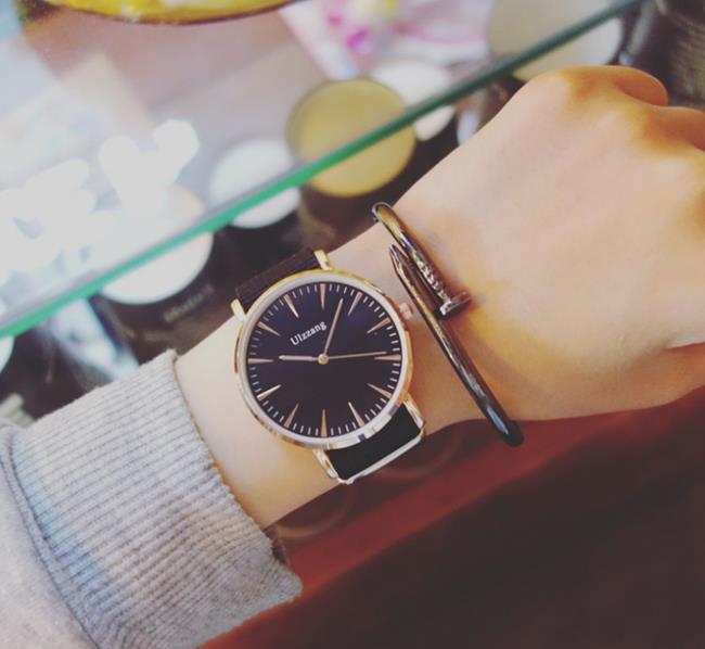 50%OFF SHOP【H022131WAH】新品ulzzang歐美簡約手錶男學生韓版潮男個性黑錶盤休閒大氣潮女