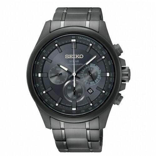 SEIKOCriteria時時刻刻三眼太陽能時尚腕錶V175-0ER0KSSC693P1