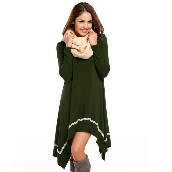 Women Casual Long Sleeve Loose Irregular Lace Hem Tunic Dress 1