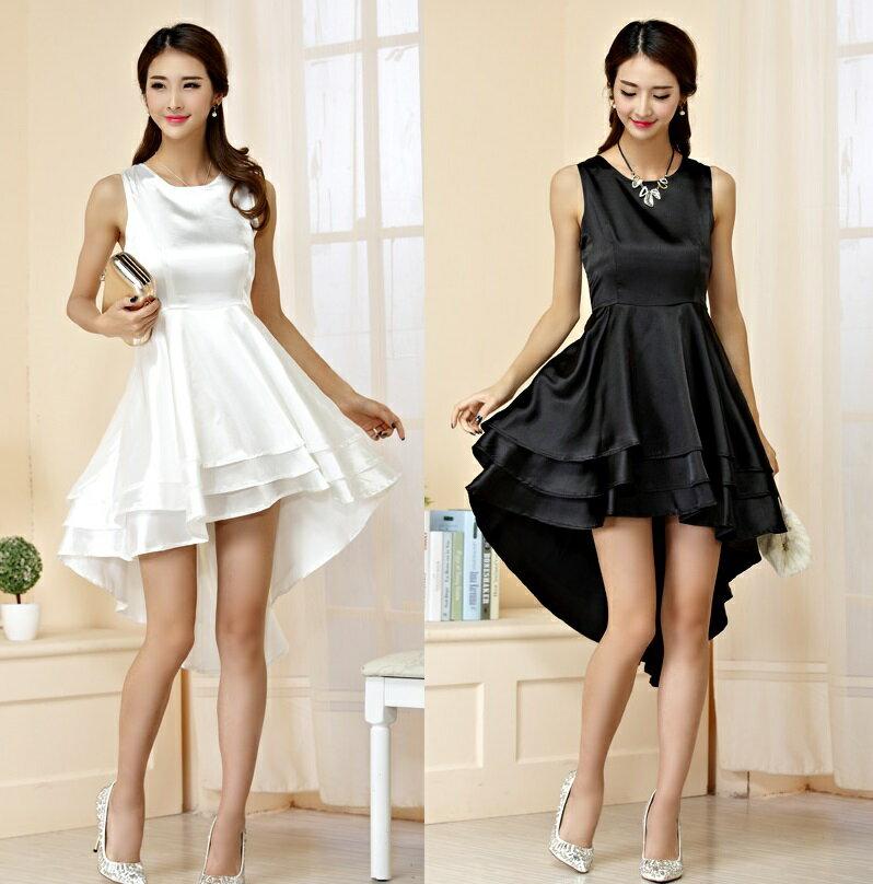 天使嫁衣【J2K9942】2色中大尺碼無袖質感亮麗前短後長造型禮服˙預購訂製款