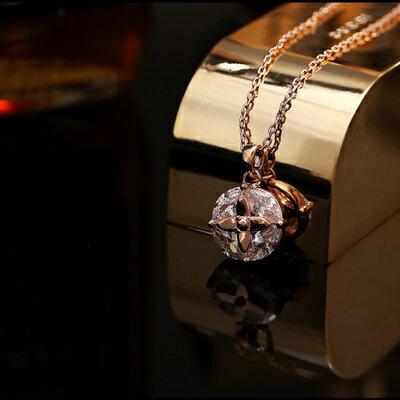 純銀項鍊 鍍18K金鑲鑽吊墜~  情人節生日 女飾品73dn94~ ~~米蘭 ~