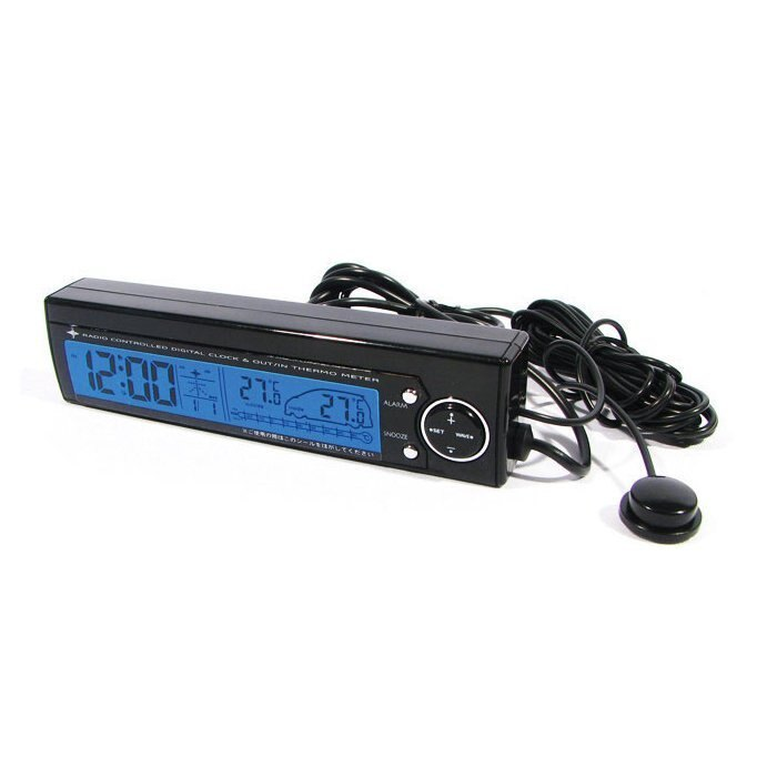權世界@汽車用品 日本 Kashimura DC點煙器式 雙色電子鐘及車內外溫度計 烤漆黑色 GL-11