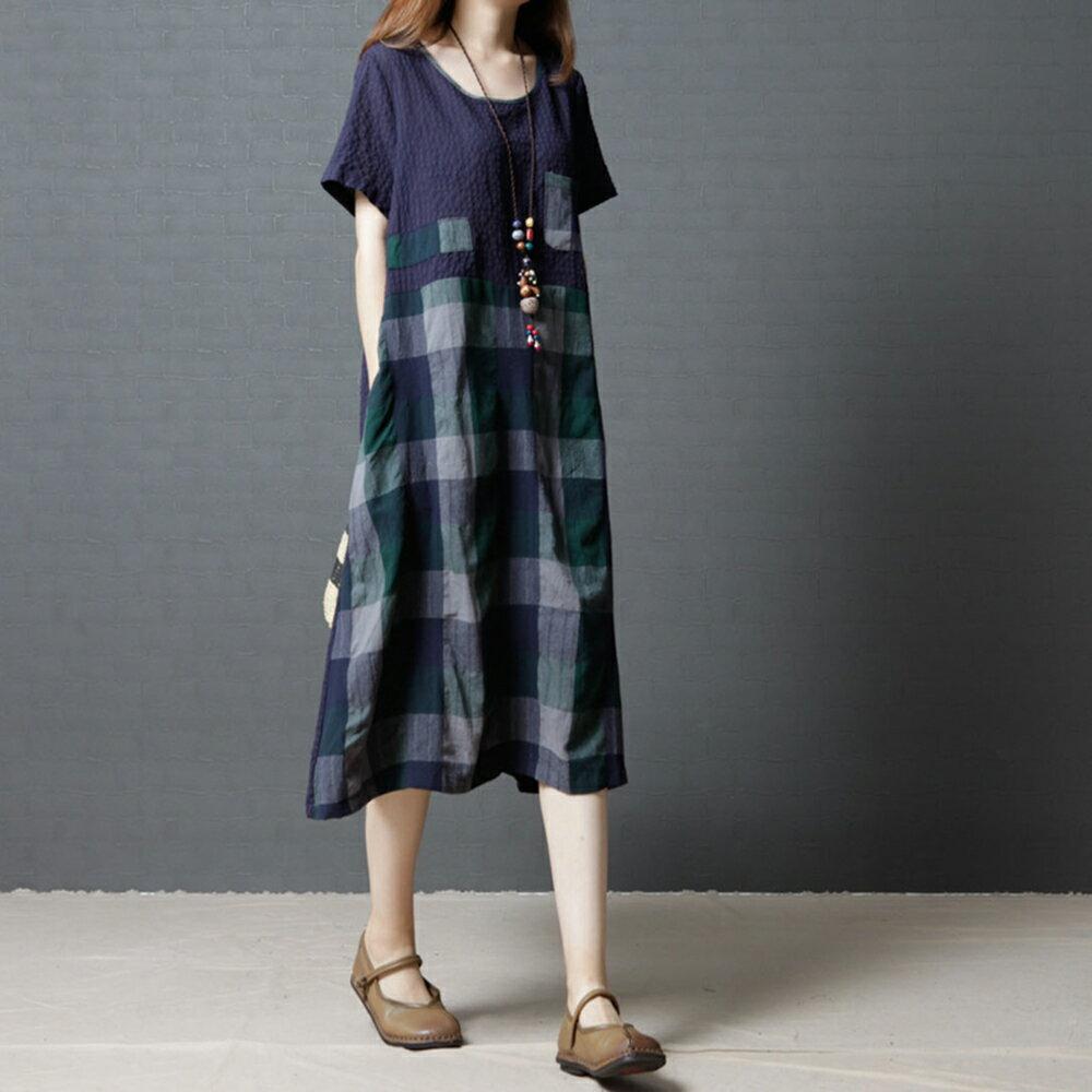 韓版麻格子圓領連身裙(2色M~2XL)【OREAD】 2