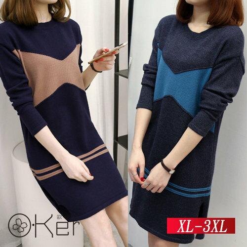 顯瘦開衩連身長版毛衣連身裙XL-3XLO-Ker歐珂LLB5039-C