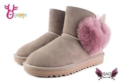 ISAO雪靴女款超值韓版真皮 雪地靴 刷毛 真皮 愛心毛球 寒冬必備 N8021#粉紅◆OSOME奧森鞋業