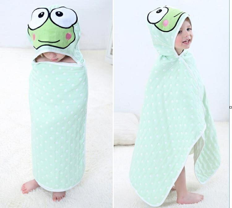 兒童浴袍 兒童浴巾斗篷 帶帽新生兒寶寶純棉紗布披風嬰兒洗澡吸水卡通浴袍 0