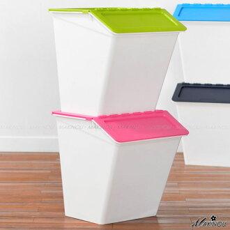 整理箱 日本MAKINOU-斜口可疊收納箱- 038 置物箱塑膠垃圾桶台灣製
