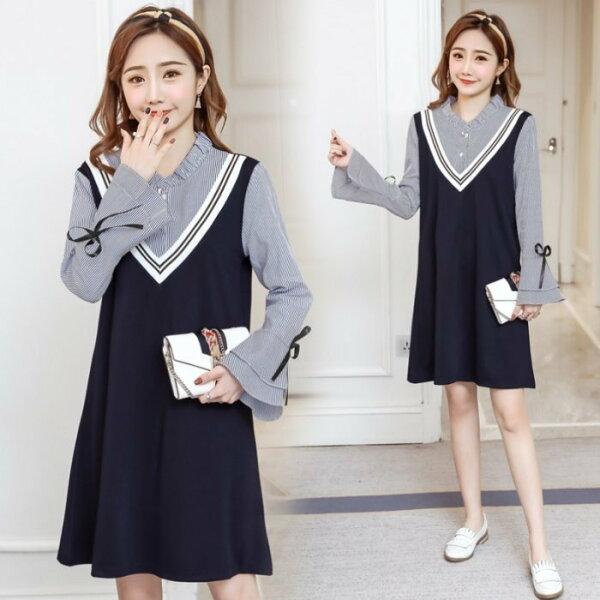 *漂亮小媽咪*韓國學院風假兩件條紋V領拼接背心裙長袖孕婦裝襯衫洋裝D9056