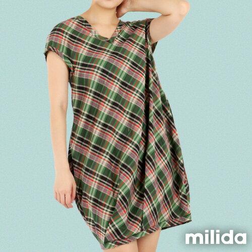 【Milida,全店七折免運】-夏季商品-拼貼款-氣質花苞版型洋裝 2