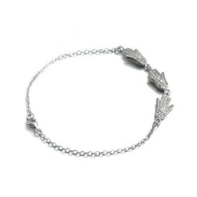 ~925純銀手鍊 鑲鑽手環~ 純 手掌 情人節生日 女飾品2色73dl40~ ~~米蘭 ~
