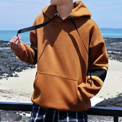 ★長袖T恤連帽上衣-純色寬鬆袖子撞色男打底衫2色73qd24【獨家進口】【米蘭精品】