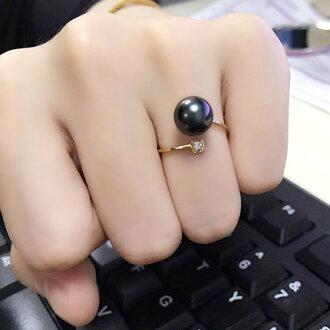 美琪 艾格麗絲 法國原產大溪地黑珍珠鑲嵌鑽石18K戒指