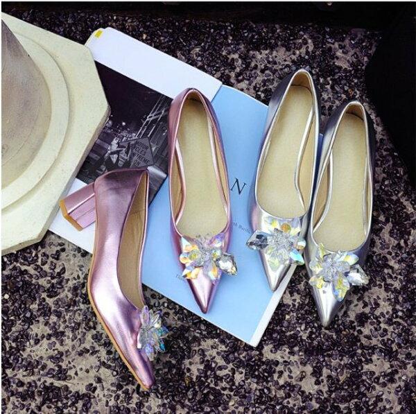 Pyf♥冰晶花尖頭高跟鞋水晶高跟鞋銀色金屬色公主婚鞋伴娘鞋43大尺碼女鞋