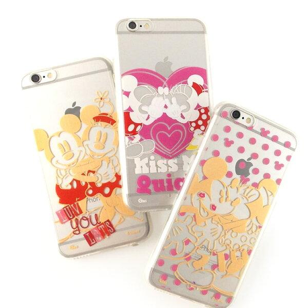 【Disney】iPhone6彩繪金色珠光白透明雙料保護殼-米奇米妮系列