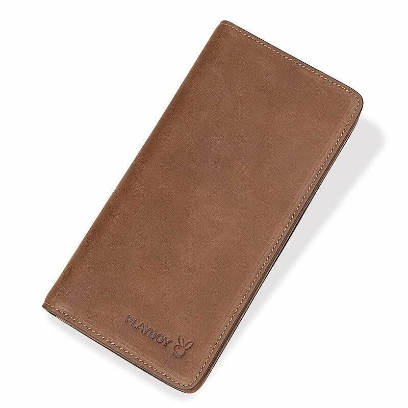 現貨|PLAYBOY 牛皮革長夾錢包 [A11-074] 復古磨砂|男皮夾|棕色|橘子包舖