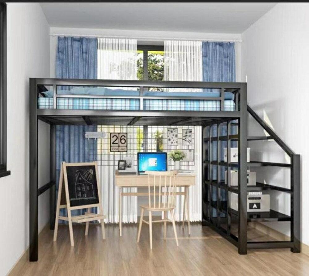 歐式鐵藝雙人床1.8米高架公主床宿舍公寓多功能上下鋪鐵 【限時特惠】 LX
