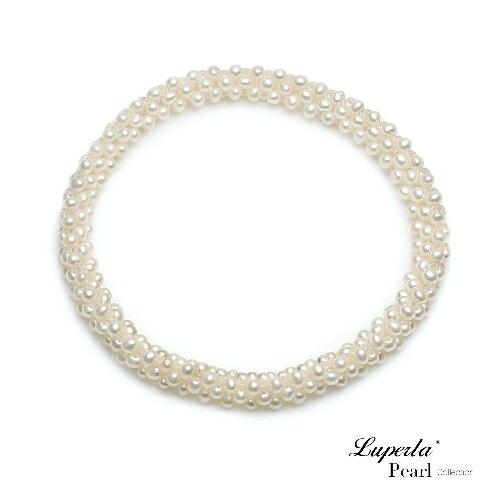 大東山珠寶 浪漫純白 天然珍珠手環 歐美古典編織珠寶 0
