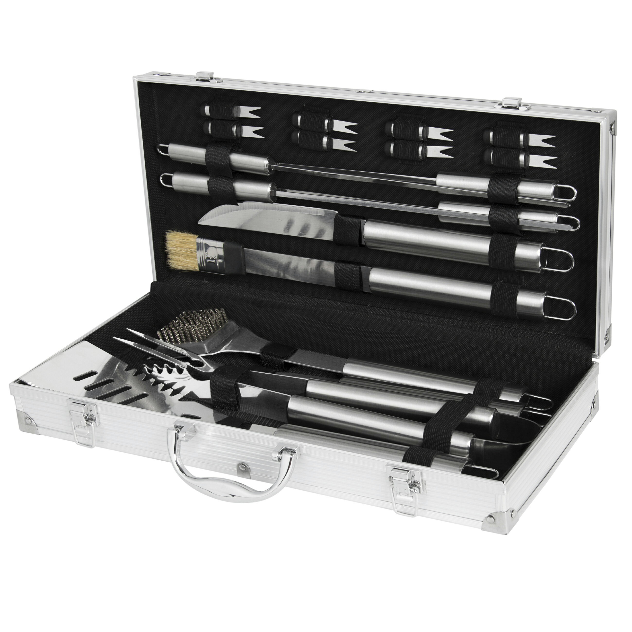 Best Choice Products Bcp 19pc Stainless Steel Bbq Grill Tool Set With Aluminum Storage Case 1