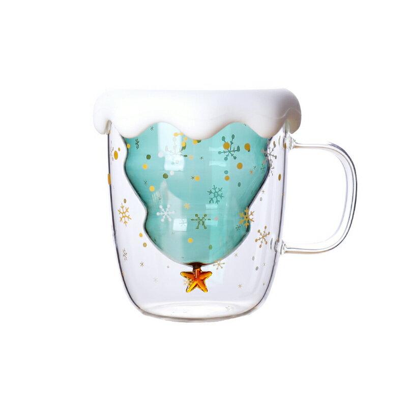 聖誕樹 星星 雙層 玻璃杯 馬克杯 高硼矽玻璃杯 耐熱耐冷 創意 聖誕保溫杯 隔熱 牛奶杯 咖啡杯 水杯【Z91113】 1