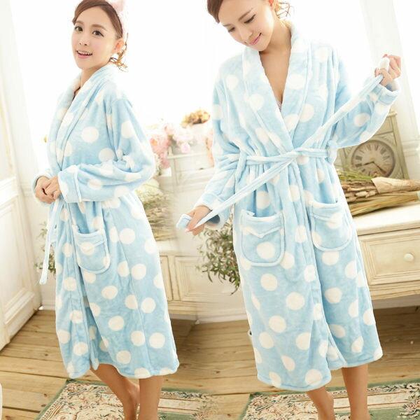 冬季睡衣雪貂絨圓點點睡袍-睡裙-保暖、居家服_蜜桃洋房