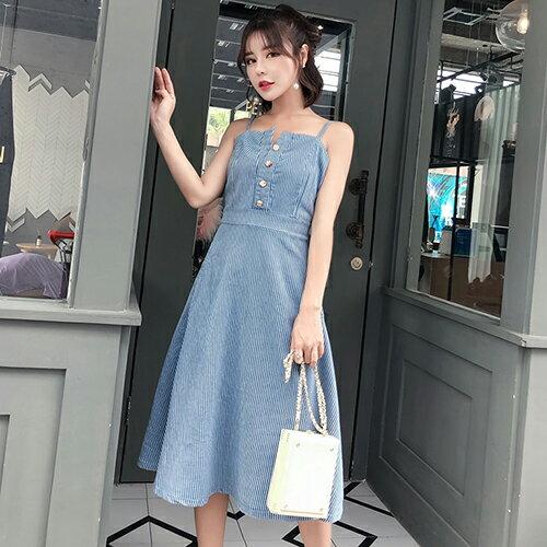 *ORead*條紋一字領露肩露背中長款連身裙(藍色S~XL)