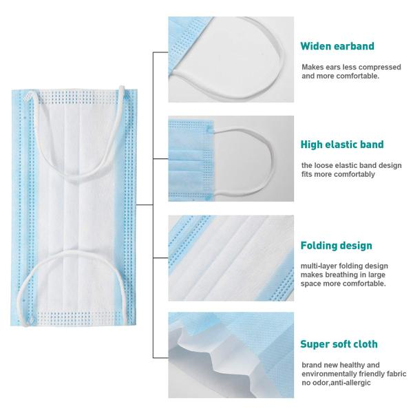 50pieces Disposable Single Use Mouth Cover Surgical Masks 3
