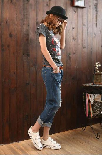 【預購款】寬鬆九分刷破顯瘦男友褲 哈倫牛仔褲 寬鬆個性款【HL601M26UE】 Lanny Dress 8