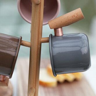 ├登山樂┤臺灣 Truvii 木頭琺瑯杯(大象灰)(把手與銅環樣式隨機出貨) 400ml 4716171921575